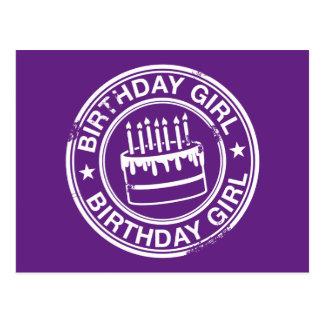 Chica del cumpleaños - efecto blanco del sello de postal
