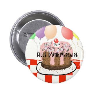 Chica del cumpleaños en botón francés pin redondo de 2 pulgadas