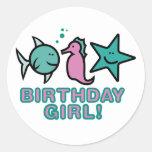 ¡Chica del cumpleaños! Etiquetas Redondas
