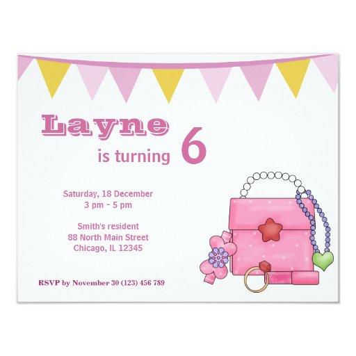"""Chica del cumpleaños invitación 4.25"""" x 5.5"""""""