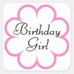 Chica del cumpleaños calcomania cuadradas personalizada