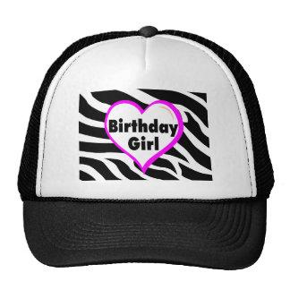 Chica del cumpleaños rayas de la cebra del corazó gorras