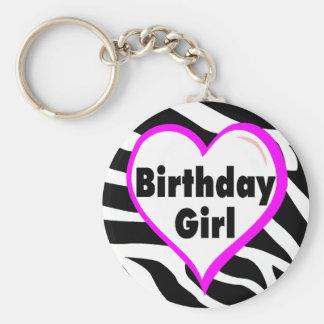 Chica del cumpleaños (rayas de la cebra del corazó llavero redondo tipo pin