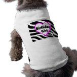 Chica del cumpleaños (rayas de la cebra del corazó ropa para mascota