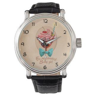 Chica del cumpleaños reloj de mano