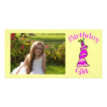 Chica del cumpleaños tarjeta con foto personalizada