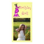 Chica del cumpleaños tarjeta fotografica personalizada