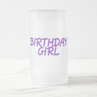 Chica del cumpleaños taza de cristal