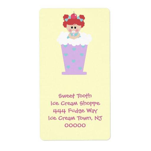 chica del cutie de la soda del helado del diente d etiquetas de envío