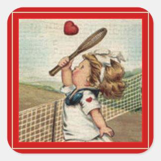 Chica del ~ de la tarjeta del día de San Valentín Calcomanías Cuadradas Personalizadas