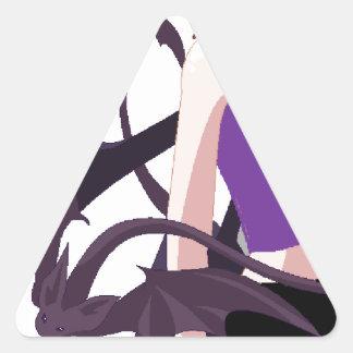 Chica del demonio pegatina triangular