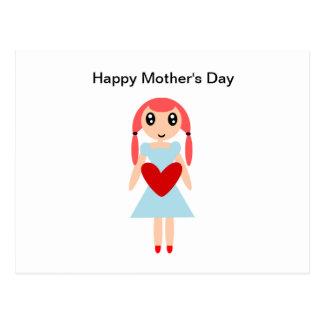 Chica del día feliz de madre con el corazón tarjeta postal