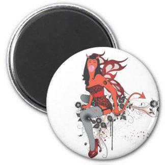 Chica del diablo II Imán Redondo 5 Cm