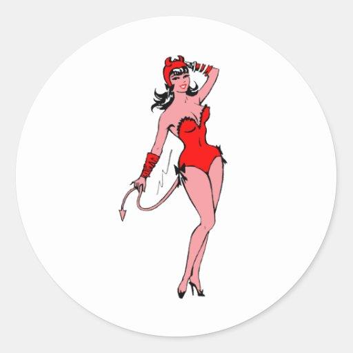 Chica del diablo pegatina redonda