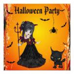 Chica del diablo, Pitchfork y gato lindos Invitación 13,3 Cm X 13,3cm