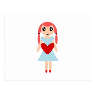 Chica del dibujo animado con el corazón tarjetas postales