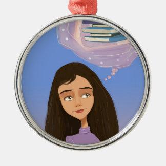 chica del dibujo animado con el ornamento de los g ornamento para reyes magos