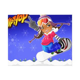 Chica del dibujo animado de Hip Hop en snowboard Impresión En Tela