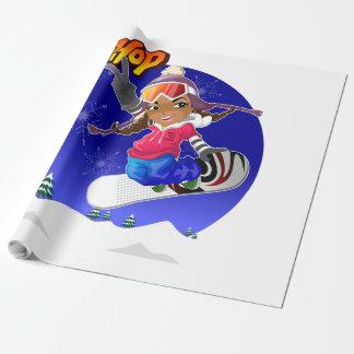 Chica del dibujo animado de Hip Hop en snowboard Papel De Regalo