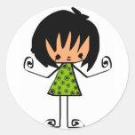 chica del dibujo animado pegatina redonda