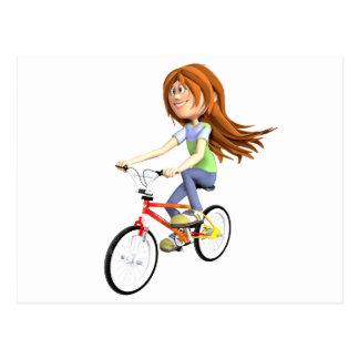 Chica del dibujo animado que monta una bici tarjetas postales