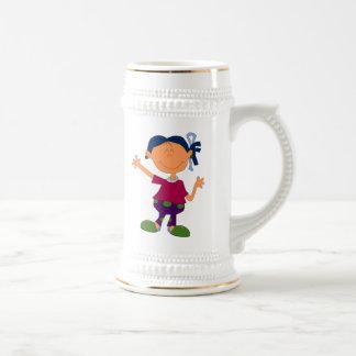 Chica del dibujo animado tazas de café