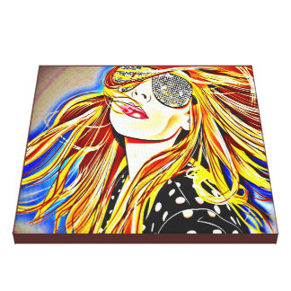 chica del disco de los años 70 impresiones en lienzo estiradas