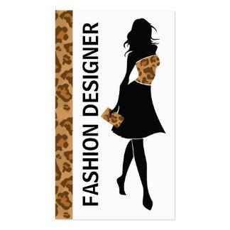 Chica del diseñador de moda con la impresión marró plantilla de tarjeta personal