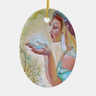 Chica del duende adorno navideño ovalado de cerámica