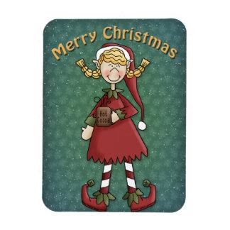 Chica del duende del navidad iman
