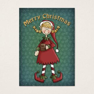 Chica del duende del navidad tarjetas de visita grandes