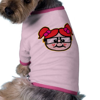 Chica del empollón camiseta con mangas para perro