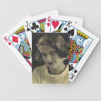 Chica del encanto de la foto del vintage baraja cartas de poker