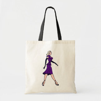 Chica del encanto del vintage, secretaria rubia bolsa tela barata