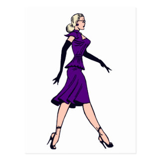 Chica del encanto del vintage, secretaria rubia postal