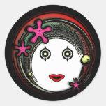 Chica del espacio de la flor etiquetas redondas