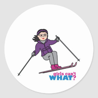 Chica del esquí - medio pegatina redonda
