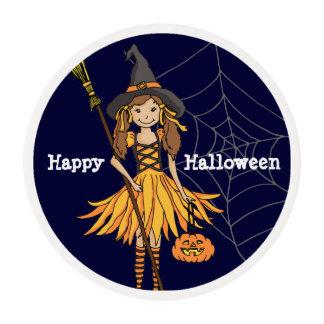 Chica del feliz Halloween con helar de la calabaza Láminas De Azúcar Para Galletas