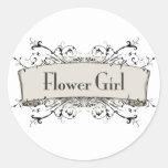 Chica del *Flower Etiquetas Redondas