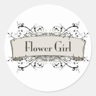 Chica del Flower Etiquetas Redondas