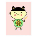 Chica del flower power postal
