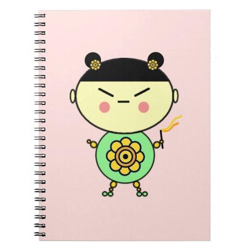 Chica del flower power spiral notebook