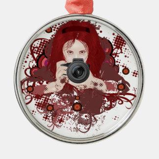 Chica del fotógrafo adorno navideño redondo de metal