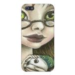 chica del friki y su ratón del mascota iPhone 5 cárcasas