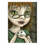 chica del friki y su ratón del mascota tarjeta de visita