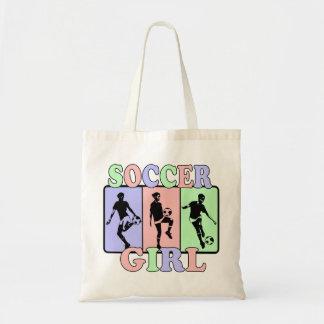 Chica del fútbol bolsa lienzo