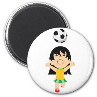 Chica del fútbol imán redondo 5 cm