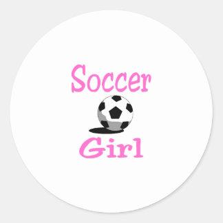 Chica del fútbol pegatina redonda