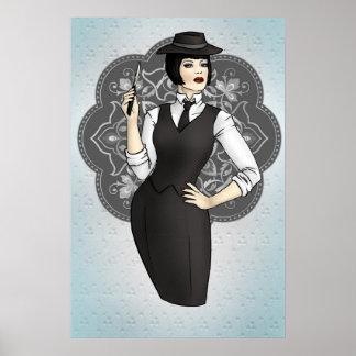 chica del gángster de los años 20 póster