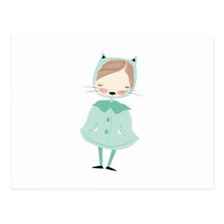 Chica del gatito tarjetas postales
